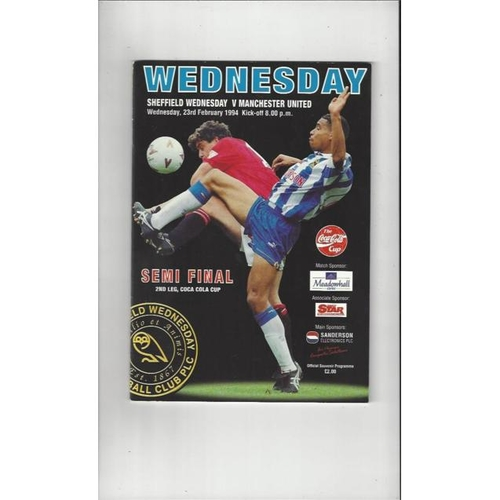 1993/94 Sheffield Wednesday v Manchester United League Cup Semi Final Football Programme