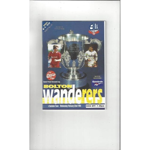 1994/95 Bolton Wanderers v Swindon Town League Cup Semi Final Football Programme + Insert