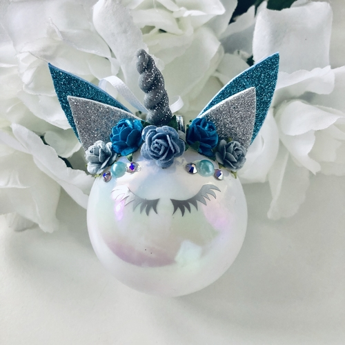 Unicorn Bauble Blue