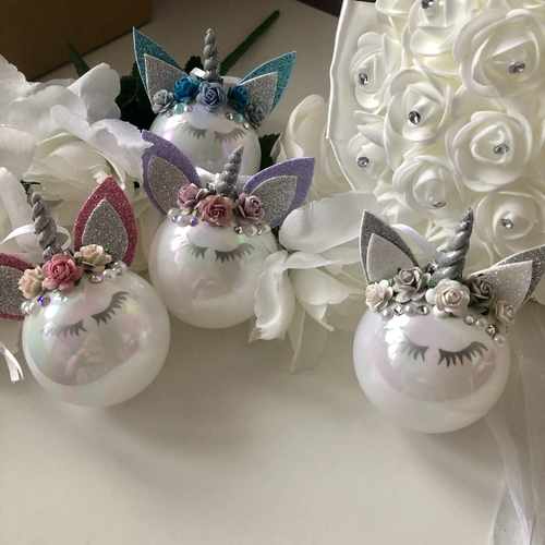 Unicorn Bauble Unicornament White Iridescent Small (colour options available)