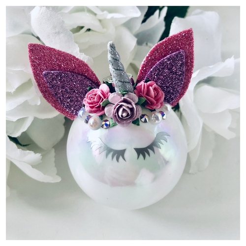 Unicorn Bauble Pink & Lilac