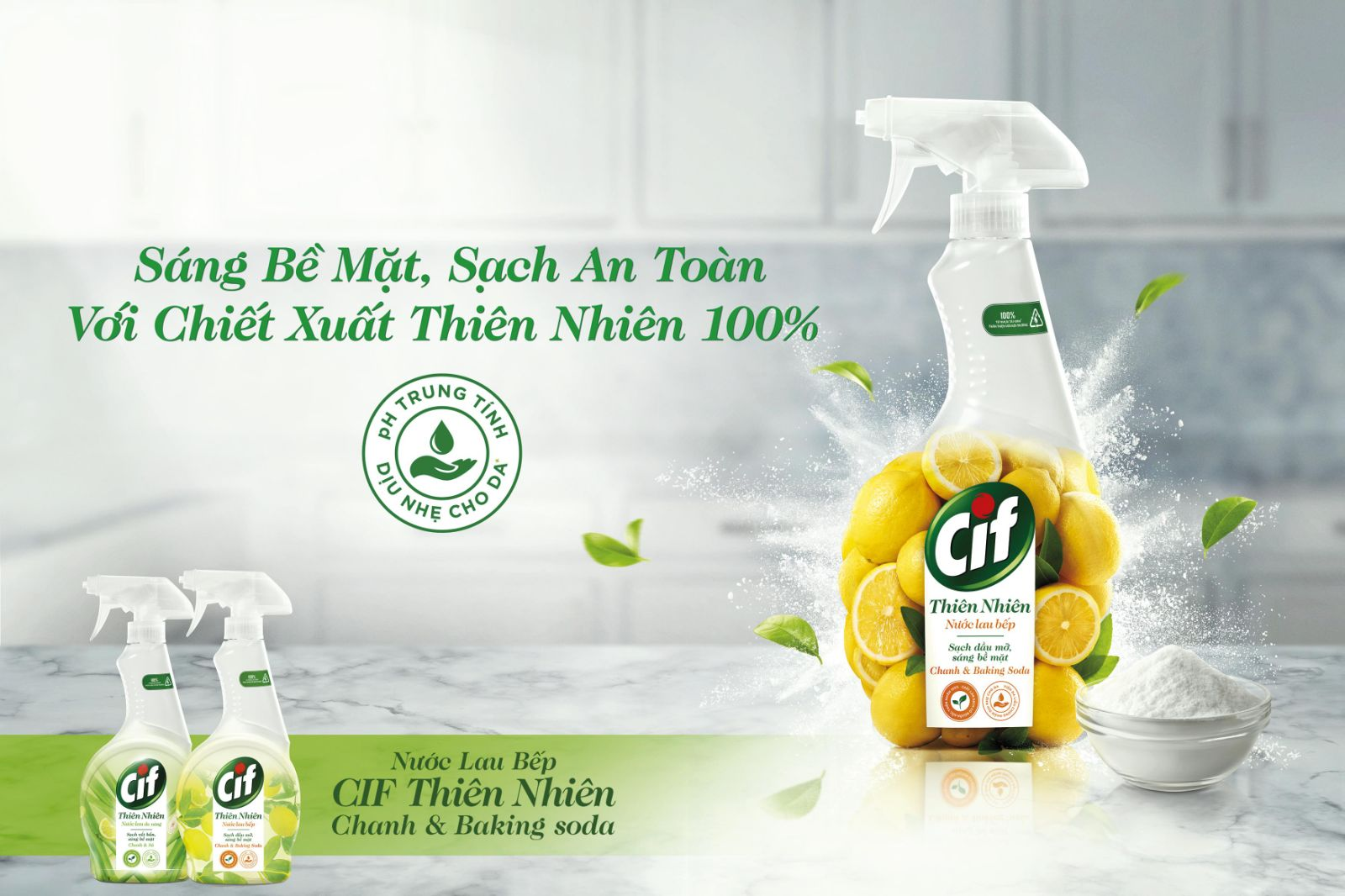 Launch comms for naturals range of Cif household surface cleaner