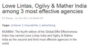 Lowe Lintas, Ogilvy & Mather India among 3 most effective agencies