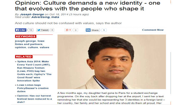 Culture demands a new identity – one that evolves with the people who shape it: Joseph George