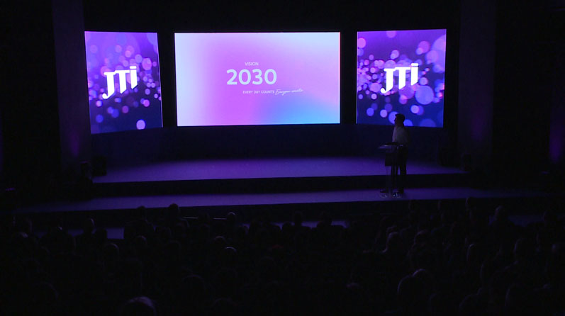 JTI 20th anniversary, presentation, LED display