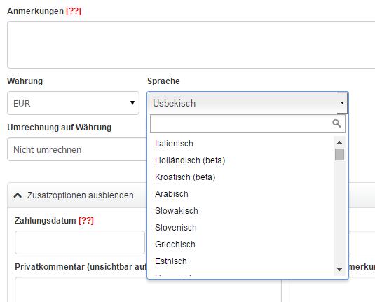 Support Von Invoiceoceande Wie Rechnung In Einer Anderen Sprache