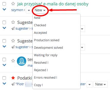 Zmiana statusu maila