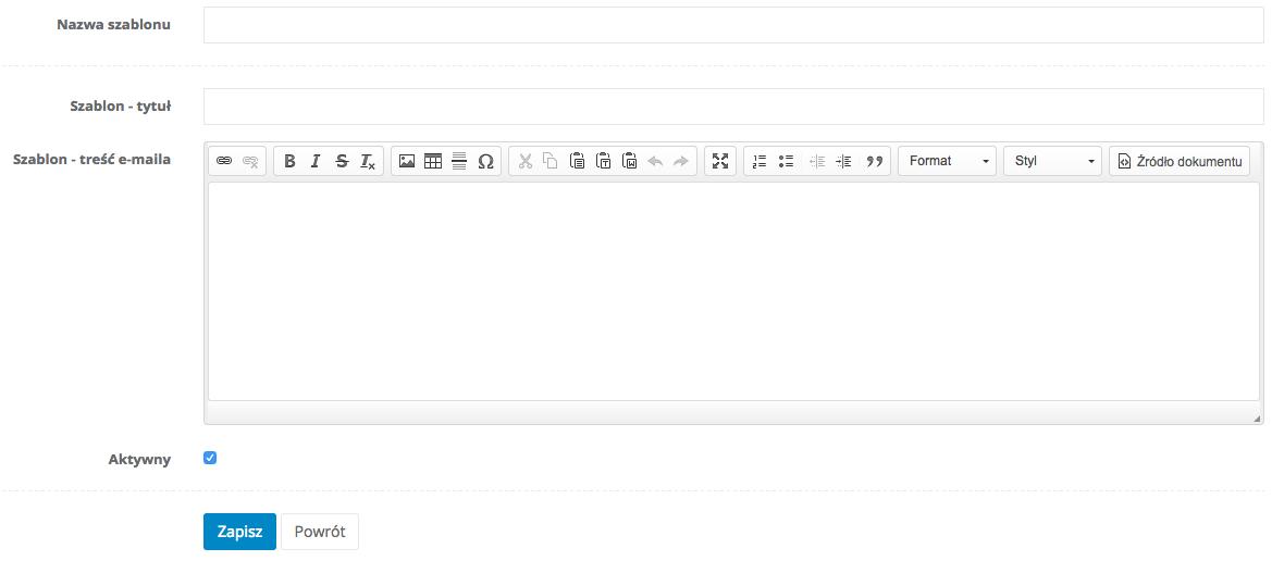 Okno edycji nowego szablonu e-maila