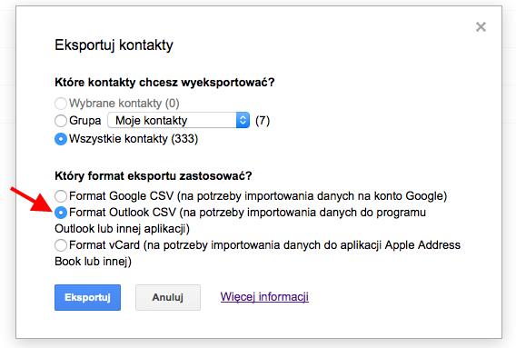 Eksport kontaktów z Gmaila