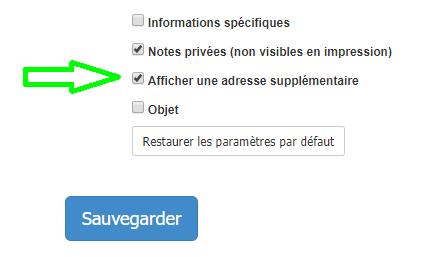Renseigner Adresse supplémentaire Contact Fonctionnalité VosFactures Création/Modification du Document