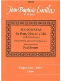 Jean Baptiste Loeillet: Six Sonatas For Flute Volume 2