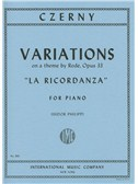 Carl Czerny: Variations On A Theme By Rode Op.33 'La Ricordanza'