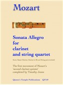 Wolfgang Amadeus Mozart: Sonata Allegro For Clarinet And String Quartet