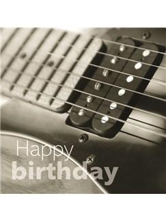 Birthday Card: Black & White Electric Guitar Close Up   
