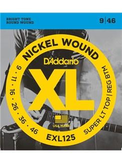 D'Addario: EXL125 Nickel Wound Electric Guitar Strings, Super Light Top/ Regular Bottom, 9-46  | Electric Guitar