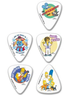 The Simpsons Themed Guitar Plectrums Pack 4 (5 Medium Picks)  | Guitar