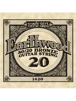 Ernie Ball: Earthwood 80/20 Bronze Single Acoustic Guitar String (.020)  | Acoustic Guitar