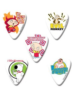 Family Guy Themed Guitar Plectrums - Pack 1 (5 Medium Picks)  | Guitar