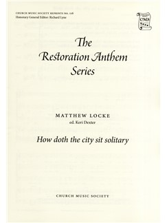 Matthew Locke: How Doth The City Sit Solitary Books | SATB, Organ Accompaniment