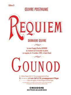 Charles Gounod: Requiem (Organ/Voice) Livre | Soprano, Contretenor, Alto, Basse, Accompagnement Orgue