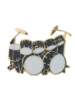 Mini Pin: Double Bass Drum Set (Black)  | Drums