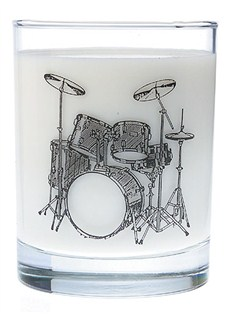 Clear Glass Tumbler: Drum Set   