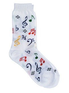 Women's Socks: Multi Notes (White)  |
