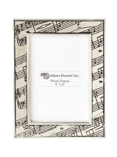 Photo Frame: Pewter With Music Score Border Design  |