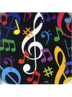 Drinks' Coaster (Multi-coloured Music Notes)  |