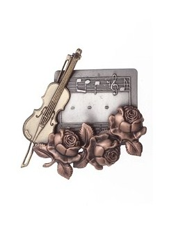 Violin With Rose Brooch  |
