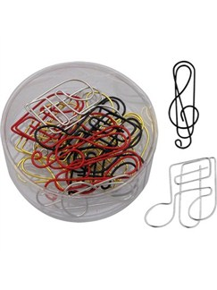 Paper Clips: Treble Clef/Music Note Shapes - Assorted Colours  |