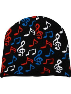 Beanie: Black With Music Notes And Clefs   