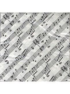 Napkins: 20 Serviettes A Boisson En Papier Double Epaisseur - Motif Portées Musicales  |