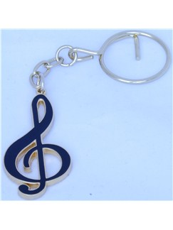 Keyring: Treble Clef Design (Black)  |