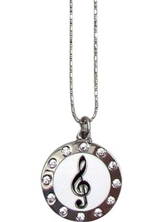 Treble Clef Necklace - Round/Rhinestones  |