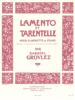 Gabriel Grovlez: Lamento Et Tarentelle For Clarinet And Piano Books | Clarinet, Piano Accompaniment