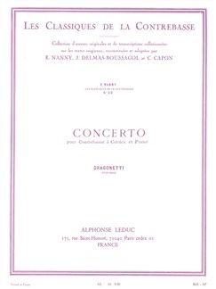 Domenico Dragonetti: Concerto (Double Bass/Piano) Books | Double Bass, Piano Accompaniment