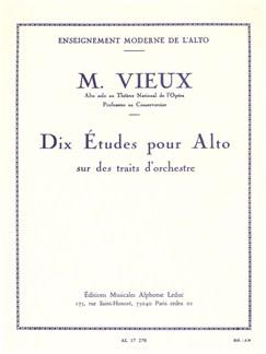 Marcel Vieux: 10 Etudes Sur Des Traits D'Orchestre (Viola) Books | Viola