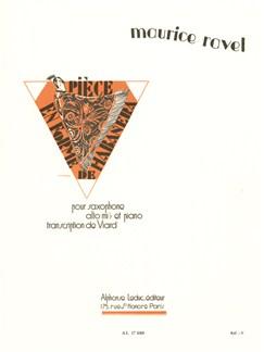 Maurice Ravel: Piece En Forme De Habanera Livre | Saxophone, Saxophone Alto, Accompagnement Piano