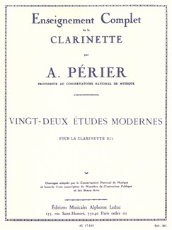 Auguste Périer: 22 Etudes Modernes For Clarinet Books | Clarinet