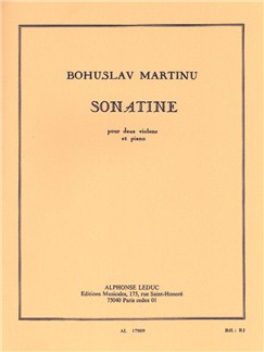 Bohuslav Martinu: Sonatine For Two Violins And Piano H198 Books | Violin (Duet), Piano Accompaniment