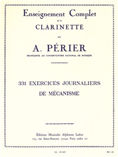 Auguste Périer: 331 Exercices Journaliers De Mécanisme (Clarinet) Books | Clarinet