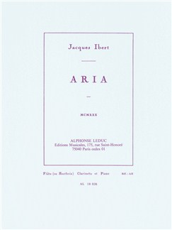 Jacques Ibert: Aria (Violin/Cello or Flute/Clarinet with Piano) Books | Violin, Cello, Flute, Clarinet, Piano Chamber