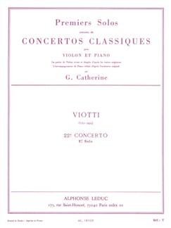 Giovanni Batista Viotti: Premiers Solos - Concertos Classiques No.22 (Violin/Piano) (Catherine) Books | Violin, Piano Accompaniment