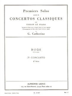 Pierre Rode: Premiers Solos - Concertos Classiques No.7 (Violin/Piano) (Catherine) Books | Violin, Piano Accompaniment