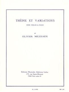 Olivier Messiaen - Thème Et Variations For Violin And Piano Books | Piano, Violin, Score