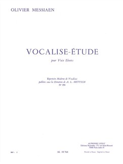 Olivier Messiaen: Vocalise-Étude (High Voice) Books | Voice, Piano Accompaniment