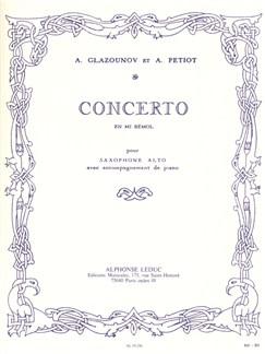 Alexandre Glazounov: Saxophone Concerto Op.109 In E Flat (Saxophone Alto/Piano) Livre | Saxophone Alto, Accompagnement Piano