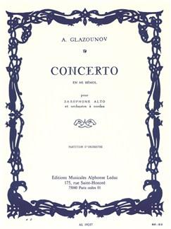 Alexandre Glazounov: Saxophone Concerto Op.109 In E Flat - Full Partition Livre | Saxophone Alto, Orchestre