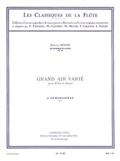 Jules Demersseman: Grand Air Varié (Flute/Piano) Libro | Flauta, Acompañamiento de Piano